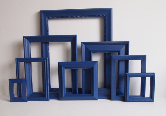 picture frame collection set of eight navy blue distressed. Black Bedroom Furniture Sets. Home Design Ideas