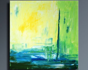 "36"" ORIGINAL ABSTRACT Yellow Blue Green Painting on Canvas Contemporary Abstract Modern Art wall decor - Unstretched - SQ13"