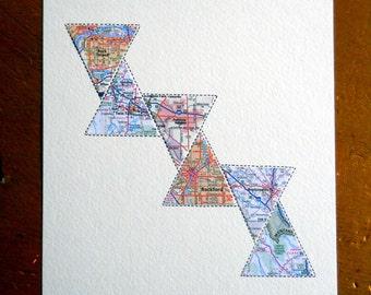 Gift for Him - Modern Map Art - Anniversary Gift for Him - Husband Gift - Wedding Gift - Triangle Art - Design #51