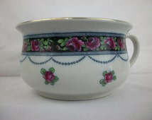 BLOWOUT SALE Keeling & Co Losol Ware Flow Blue Polychrome Chamber Pot in the Grosvener pattern