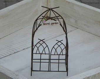 Fairy Garden Miniature Accessories Arbor with sign - four to choose from - secret garden - fairy garden - welcome