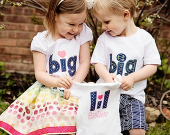 Little Brother/Little Sister Personalized Sibling Shirt (Navy/pink and Navy/blue or green)