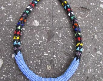 Beaded African Collar Necklace Tribal Ethnic Boho Hippie