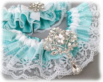 Something Blue Garter Set, Aqua Blue Bridal Garter Set, White Lace Garter Set, Blue Lace Wedding Garter Set, White Garter Set