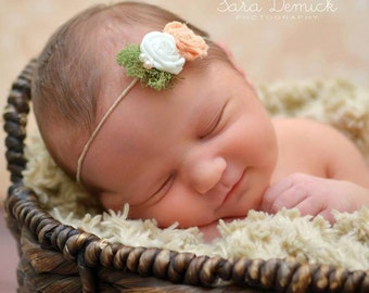 Sweet As A Peach Tie Back Headband, Newborn Photo Prop, Halo Headband