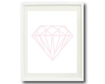 Diamond Art Print- 8x10 or 11x14 - Blush Pink and White OR Choose Colors-Home Decor-Dorm Room-Office-Teen Room-Modern Print-Mod Wall Art