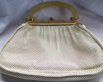 Vintage 1950 Whiting Davis Lucite Handle Mesh Purse - Estate Find!