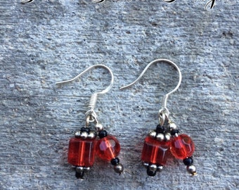 Red and Black Bead Dangle Sterling Silver Earrings
