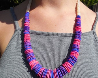 Vibrant Blue and Pink Beaded Necklace