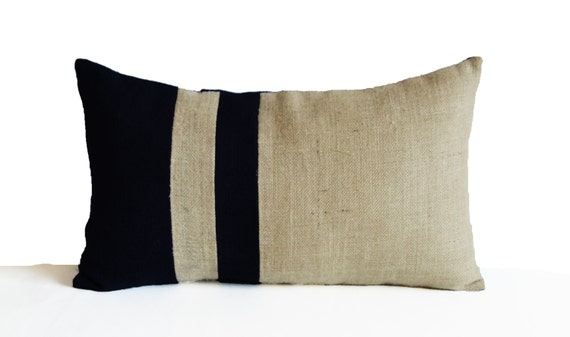 Burlap Pillow Cover Black Ivory Pillows Nautical Pillow