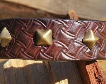 Studded Leather Cuff Bracelet-Dark Brown-Antique Brass Snaps-Hand Stamped Design-Rocker/Boho/Hippie/Hipster/Unique Jewelry and Accessories