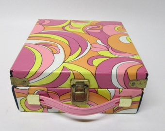 1960s Lighted Makeup Mirror In Psychedelic Case by Showgirl