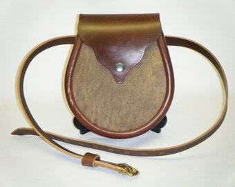 Handmade Brown Leather with Waxy Maracca Front.  Vennachar Sporran.