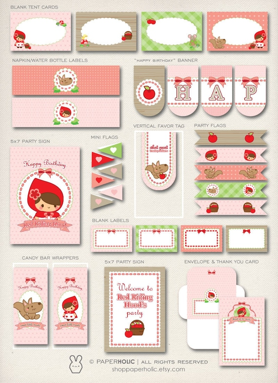 Sweet Little Red Riding Hood  Printable Party Decorations