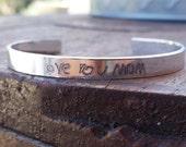 Engraved Handwriting Skinny Cuff, Mom Jewelry, Kids' Initials Bracelet, Mother's Day Gift, Custom Personalized Jewelry