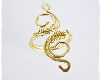 Gold Wire Wrapped Ring - 14K Gold Filled Adjustable Swirl Ring