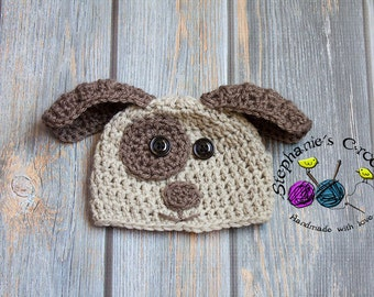 Crochet boy Puppy hat photography prop infant boy hat photo prop crochet baby hat-Made to order