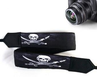 Skull Camera Strap. Halloween Camera Strap. Cool Camera Strap.White Black Camera Strap