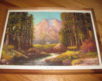 majestic peaks print by robert wood in rustic unfinished wood frame 14 12 x 20