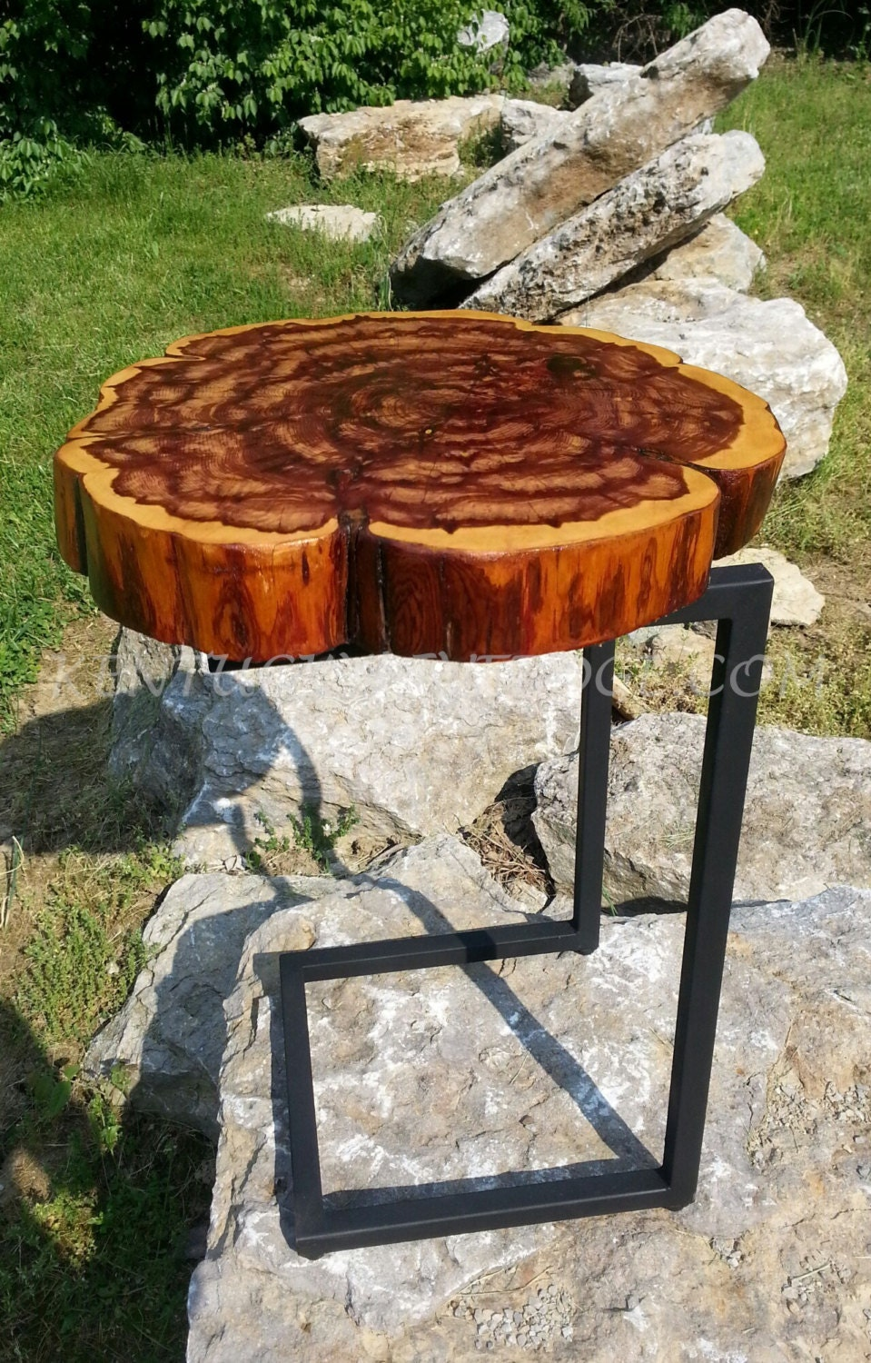 Log Side Table ~ Log round side table end laptop modern