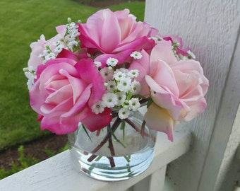Dreaming of You, Pink & Light Pink Roses with baby's breath, Realistic Touch in Glass Vase with Faux Water, Valentine's Day