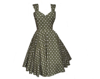 Penny Polkadot Swing Circle Dress 1950s 1940s Tea Dress Vintage Retro - Made To Measure Bridesmaid Quirky Tea Dress