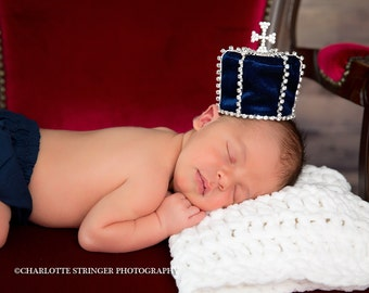 Boy Newborn Crown, Prince Crown, Blue with Rhinestones Baby Crown