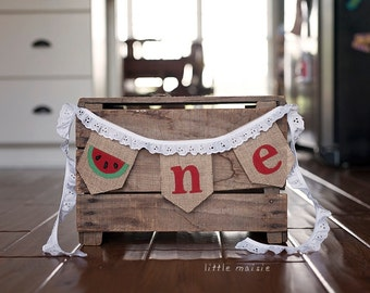 One in a Melon Watermelon Burlap High Chair Banner for First Birthday or Cake-Smash