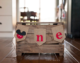 "Mickey Mouse ""one"" First Birthday Banner Cake Smash High Chair Crate Bucket Party Burlap Felt"