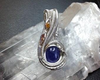 Wire wrapped mini pendant - tanzanite and sapphires