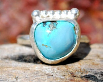 Turquoise Ring - Periwinkle Blue Turquoise - Silver Ring - Genuine Turquoise Ring - Artisan Jewelry - Silversmith Ring - Size 7.75 Ring
