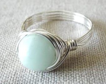 Amazonite Ring, Wire Wrap Ring, Green Stone Ring, Wire Wrapped Jewelry Handmade, Girlfriend Gift, Seafoam Green Ring, Spring Jewelry
