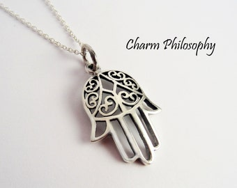 Hamsa Necklace in 925 Sterling Silver - Hamsa Pendant - Middle Eastern Inspired Jewelry - Hand Necklace