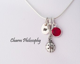 Ladybug Necklace - Tiny Ladybug Charm Pendant - 925 Sterling Silver Jewelry - Personalized Initial and Birthstone - Little Girls Necklace