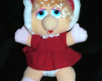 Miss Piggy Muppet Babies Plush 1987 McDonalds Christmas Collectible Stuffed Doll
