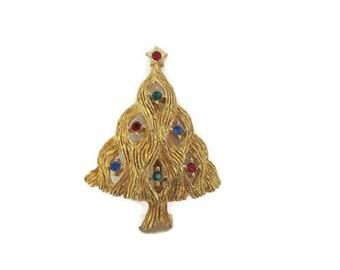 Vintage Christmas Tree Brooch, 1960's JJ Christmas Tree Brooch, Christmas Tree Pin, Holiday, Christmas Jewelry, Retro, 1960's Christmas