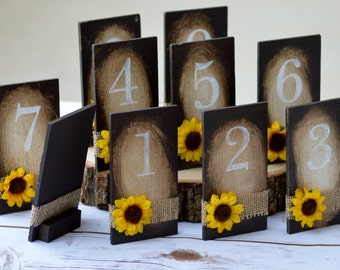 sunflower wedding decorations, fall table numbers, rustic fall wedding, serving and dining table decor, wood table numbers,  reception S1