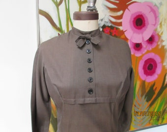 Brown 1950's Jonathan Logan  Day Dress  in cotton Size small