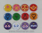 Sailor Moon Buttons, Magnets or Keychains 1.5 Inches