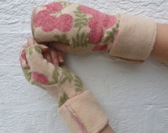 Floral pink and beige fingerless gloves winter armwarmers festival texting mittens eco-friendly women's gloves handmade mittens with thumbs.