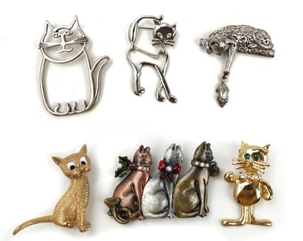 Cat Brooch Collection - 6 costume jewelry cat brooches