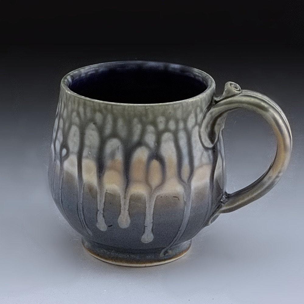Handmade Pottery Mug Blue Stoneware By Mark Hudak