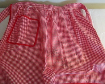 Vintage  1960's Red Gingham Check Half Apron ... One pocket ... Nice length ties...Nice Condition