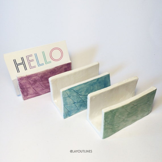 Ceramic business card holders pattern with by shoplayoutlines for Ceramic business card holder
