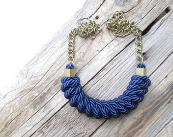 Navy blue Rope necklace knot necklace