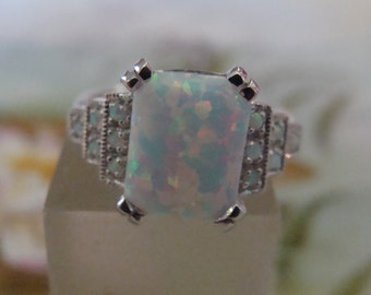Lovely Sterling Silver Opal Ring Size 6