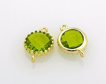 2005041 / Olivine / 16k Gold Plated Brass Framed Glass Connector 14mm x 9mm / 0.6g / 2pcs