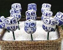 Miniature Owl Fairy Garden Accessory - Miniature Fairy Garden Bird, Terrarium Accessories - Blue and White Toile Owl