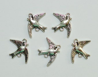 Dove Bird Connector Design Charms set of 5 / #053