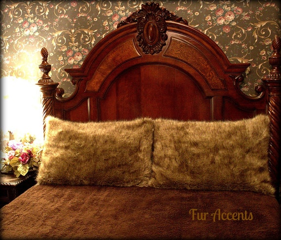 Fur Accents One Pair Of Pillow Shams Coyote Faux By